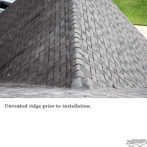 Unvented ridge prior to installation.
