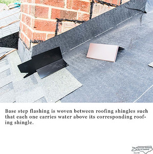 Base step flashing is woven between roofing shingles such that each one carries water above its corresponding roofing shingle.