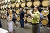 Tasting in the barrel room