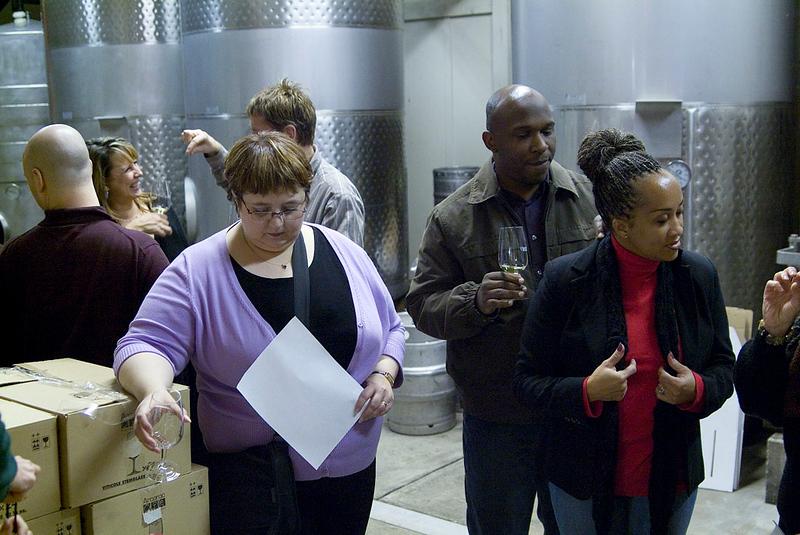 Retzlaff Winery - Tasting in the barrel room