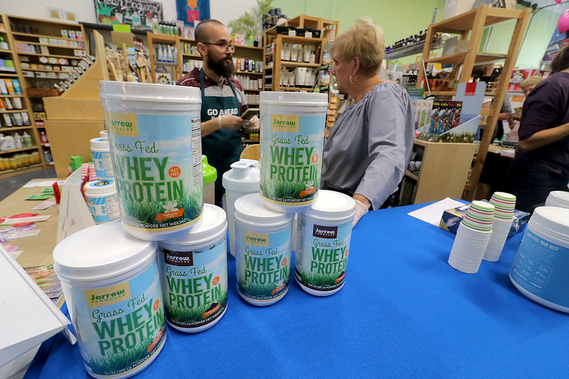 Roots Market, Kitchen, Juice Bar and Yoga held its Rootsfest 2018 on Saturday, September 8, 2018 in Leominster. They had some Whey Protein samples for everyone to try at the festival. They also sell it in their store. SENTINEL & ENTERPRISE/JOHN LOVE