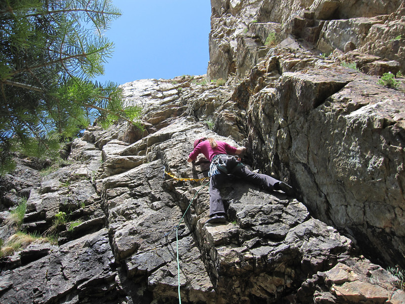 The Storm Mountain area offers 5 bolted sport climbs.  We select this one to practice our lead climbing skills.  This is Jeannie's first attempt at leading this route.