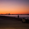 Sunset by the Parana river front, Rosario, Argentina