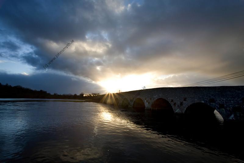 Sunset at Ballyforan bridge. The flood water is at its high point.