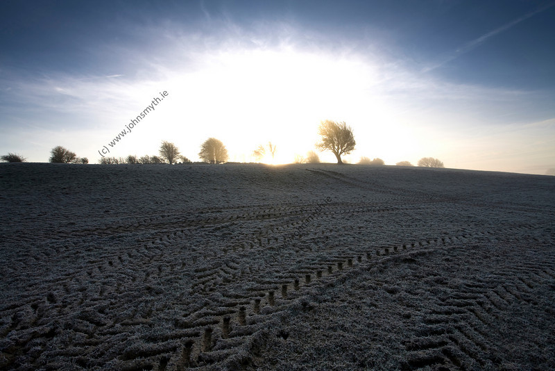 Sunrise on a frosty February morning near the village of Bridewell in Co. Roscommon (to the west of Athlone, Co. Westmeath).