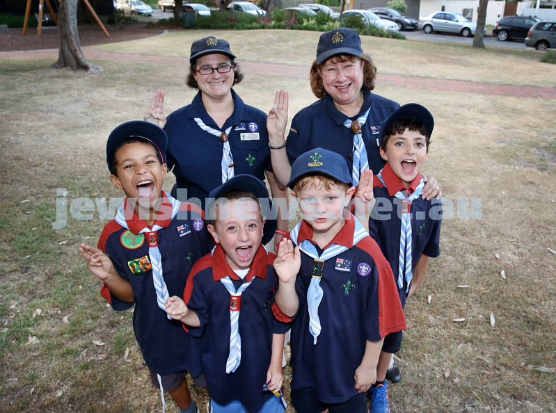 Investiture of 2 new Joeys into the 3rd Rose Bay (Judean) Joey Mob Scout Group in Bondi. Pictured Guides Ilana Guthrie (L) & Shirley Politzer OAM with Joeys (from left) Rafi Bowdre, Avishai Kessel, Charlie Reed, Alon Eldar. Pic Noel Kessel.