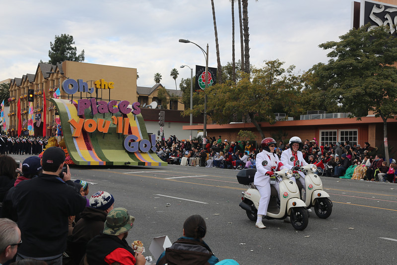 """First float, displaying theme of the Parade, """"Oh, The Places You'll Go!"""""""