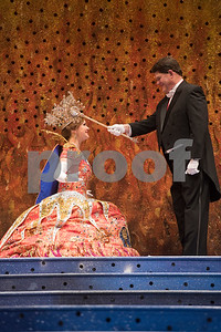 Ray Cozby, Texas Rose Festival board president, practices his scene with Rose Queen Emily Evans during rehearsal Thursday Oct. 19, 2017 for the Queen's Coronation at the University of Texas at Tyler Cowan Center.   (Sarah A. Miller/Tyler Morning Telegraph)