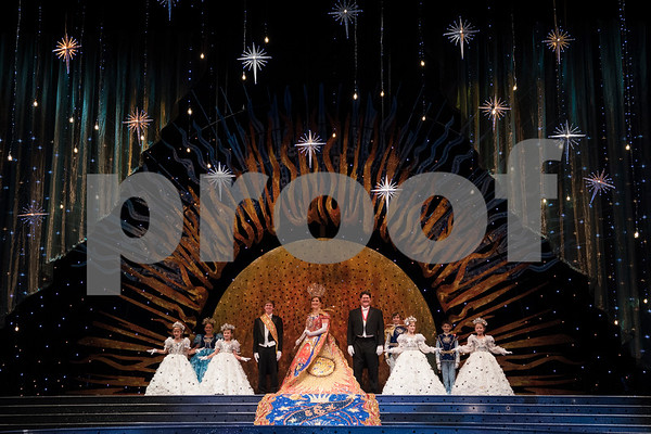 The Rose Queen's court, Winnie Kate Harbold, Nixon Richards, Alexandra Hampe, escort Grayson Faulconer, Queen Emily Evans, President Ray Cozby, John Nicholas Boone, Emma Malone, Jackson Willis and Hampton Hughey practice their scene during rehearsal Thursday Oct. 19, 2017 for the Queen's Coronation at the University of Texas at Tyler Cowan Center.   (Sarah A. Miller/Tyler Morning Telegraph)