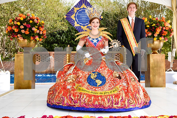 Queen Emily Kaye Evans and escort Grayson Alexander Faulconer during the 84th Texas Rose Festival Queen's Tea at the Tyler Rose Garden in Tyler, Texas, on Saturday, Oct. 21, 2017. All the ladies and their escorts were in their full dress attire on the garden grounds to take photos with the community. (Chelsea Purgahn/Tyler Morning Telegraph)