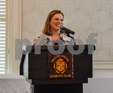 Angie Brooks Applegate addresses guests at the Friends of the Rose luncheon on Wednesday, June 11. The luncheon is a way to welcome participants to practice week in preparation for the 85th Texas Rose Festival held in October. (Jessica T. Payne/Tyler Paper)