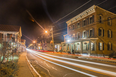 Main Street at Night, Rosendale, New York, USA
