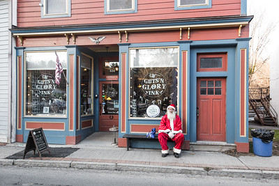 Santa taking a break outside Guts'N Glory Ink, Main Street, Rosendale, New York