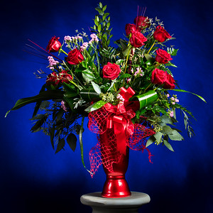 Red Rose on Blue Arrangement 1803.18