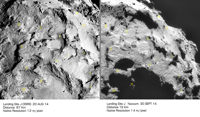 OSIRIS and Navcam Images of Landing Site J