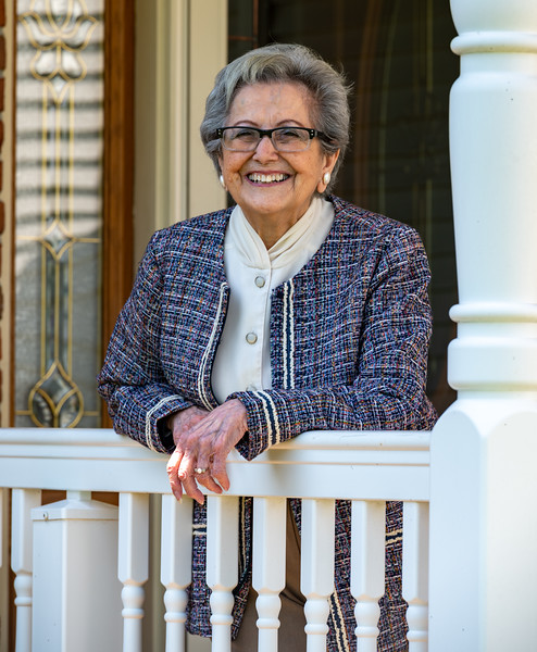 Rosina Cascio stands on the porch of her Bel Air  home May 10, 2020. The St. Ignatius Hickory volunteer will celebrate her 100th birthday in June. (Kevin J. Parks/CR Staff)