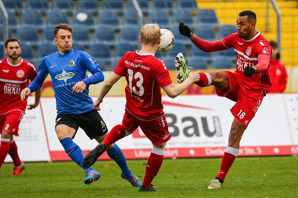 Markus Fritsch (Rot-Weiß Koblenz), Alexis Weidenbach (Rot-Weiß Koblenz); Rot-Weiß Koblenz - Eintracht Trier (1:1) in Stadion Oberwerth, Koblenz; 25.11.18, Photo: Jan von Uxkull-Gyllenband