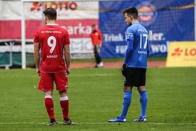 Jordi Arndt (Rot-Weiß Koblenz), Derrick Miles (Rot-Weiß Koblenz); Rot-Weiß Koblenz - Eintracht Trier (1:1) in Stadion Oberwerth, Koblenz; 25.11.18, Photo: Jan von Uxkull-Gyllenband
