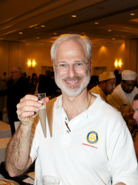 Scott Rosenbush, mayor of Morris Twp and Morristown Rotarian, enjoying the mushroom soup from Blue Morel at the 10th Anniversary of Morristown Rotary's Taste of Morristown - ©David Shapiro 2012