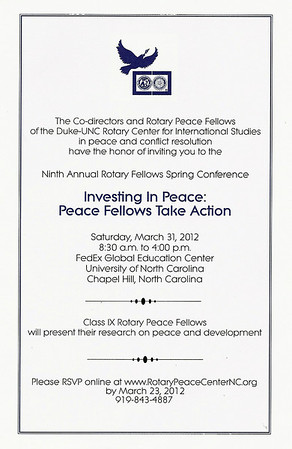 2012-03 Duke/UNC Peace Conference - Investing in Peace