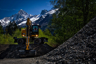 Cat M320F at a quarry in Chamonix, France, near the base of Mont Blanc