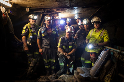 Group shot of first shift crew on a longwall coal mine outside of Pittsburgh, PA