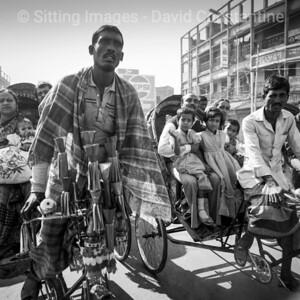 Bangladesh Rickshaw Drivers - Dhaka, Bangladesh.  December 1989