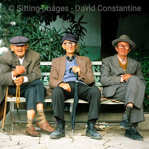 Three old men on bench, Durres, Albania © David Constantine / Axiom