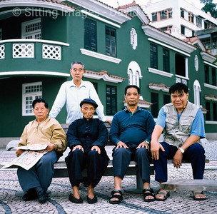 MEN ON PARK BENCH   ,  MACAU © David Constantine   / Axiom