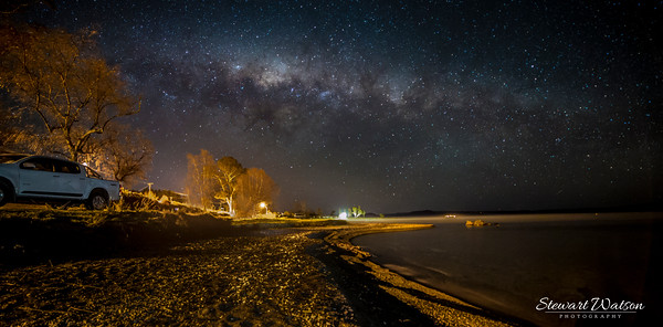 Golden beach under Taupo stars