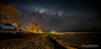 Golden beach under Taupo stars