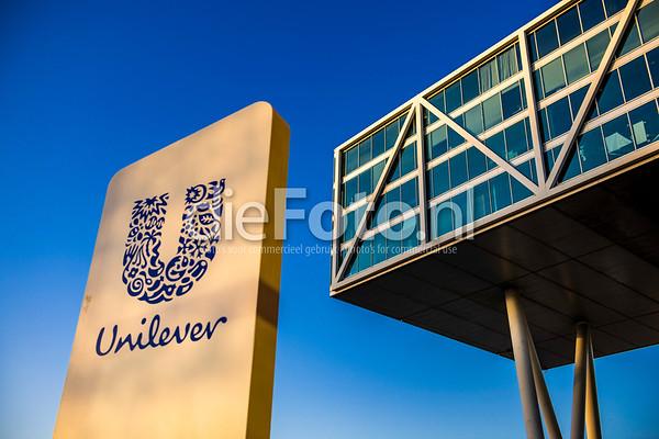 Hoofdkantoor Unilever met avondzon