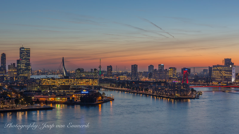 Rotterdam skyline at sunset.
