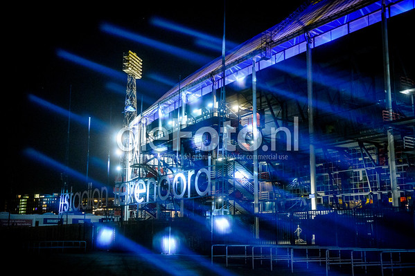 Soccer stadium De Kuip by night