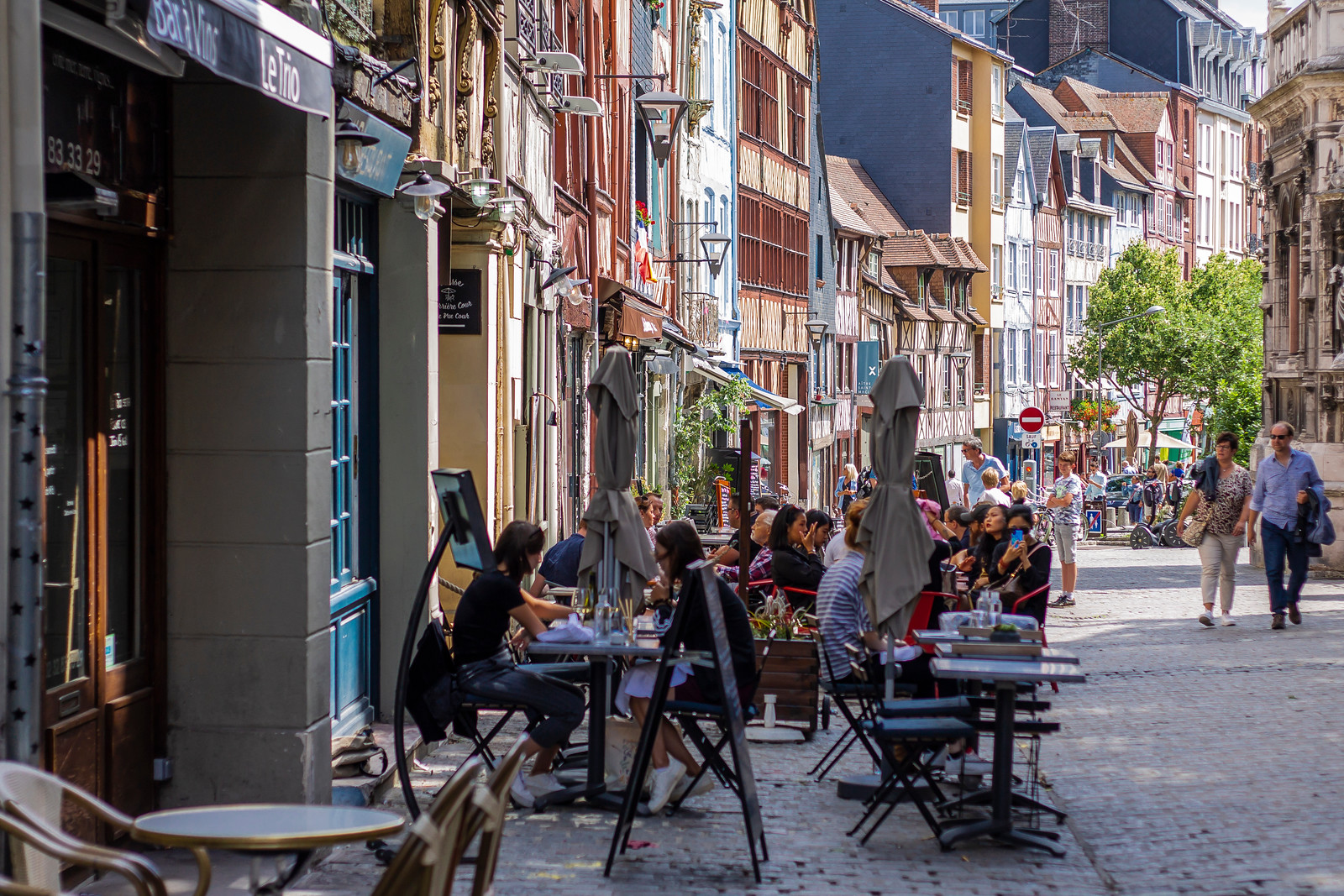 Rouen's Old Town scene - cfes, cobble street, people chilling out