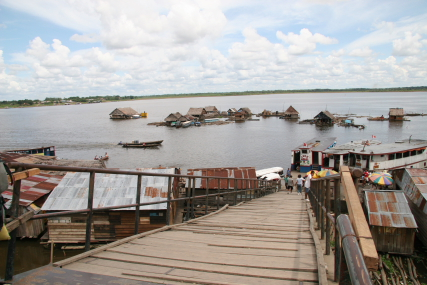 view of the Amazon from Iquitos docks