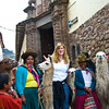 Posing with the locals in Cusco, Peru