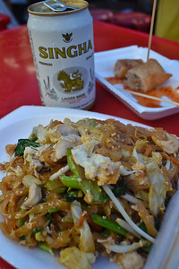 Pad Thai and a Singha for lunch