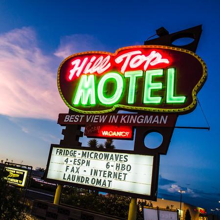 Hill Top Motel Sign Night