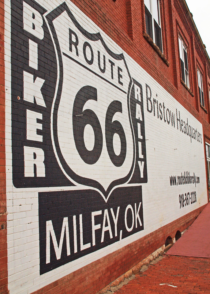Motorcycle Rally Wall Sign on old US-66, Bristow, Oklahoma
