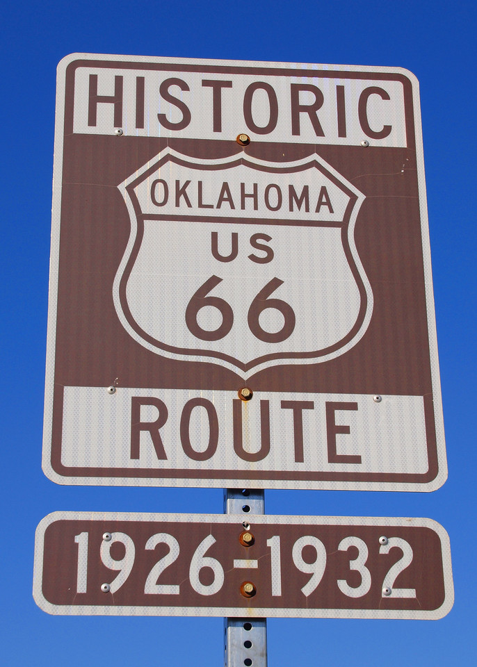 Old US-66 Road Marker in Tulsa, Oklahoma