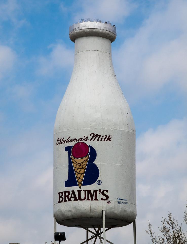 Giant Milk Bottle along old US-66 in Oklahoma City