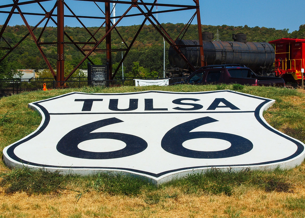 Large 66 sign at Route 66 Village on old US-66, Tulsa, Oklahoma