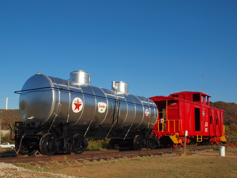 Restored Train Cars @ Route 66 Village on Old US-66 in Tulsa, Oklahoma