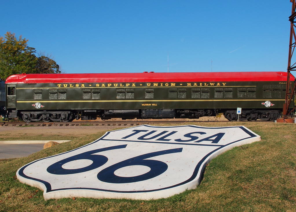 Restored Passenger car at Route 66 Village on old US-66, Tulsa, Oklahoma