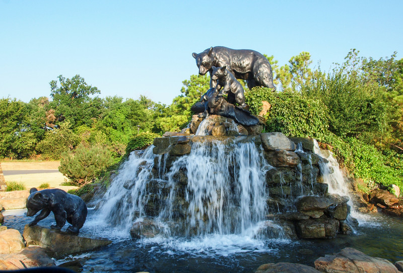 .<br /> Statue of a mother Black bear and her three cubs along Riverside Parkway in Tulsa, Oklahoma