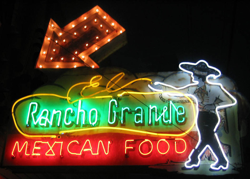 Iconic El Rancho Grande Neon sign on Old US-66 in Tulsa, Oklahoma