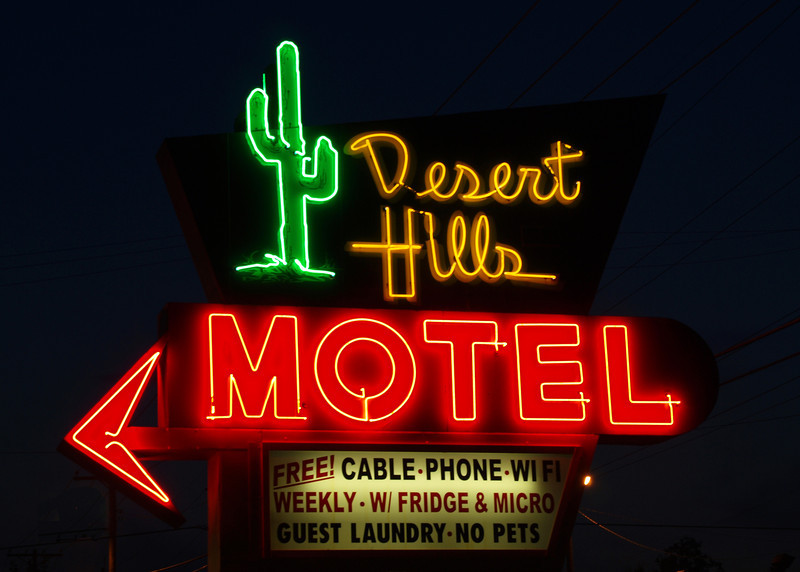 Iconic Desert Hills Motel Neon sign on Old US-66 in Tulsa, Oklahoma