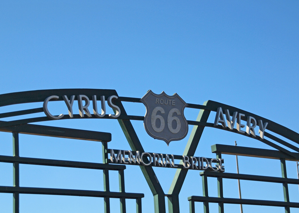 "Cyrus Avery Memorial Bridge on old US-66 in Tulsa, Oklahoma<br /> Cyrus Stevens Avery (1871–1963) was known as the ""Father of Route 66"". He created the route while a member of the federal board appointed to create the Federal Highway System, then pushed for the establishment of the U.S. Highway 66 Association to pave and promote the highway from Chicago to Los Angeles."