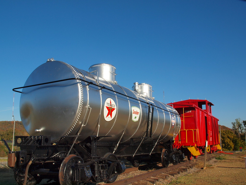 Restored Train Cars<br /> Route 66 Village on old US-66<br /> Tulsa, Oklahoma